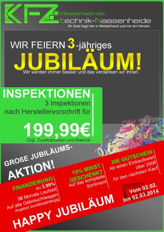 KFZ technik Nassenheide - Flyer - 3 Jahre Jubiläum